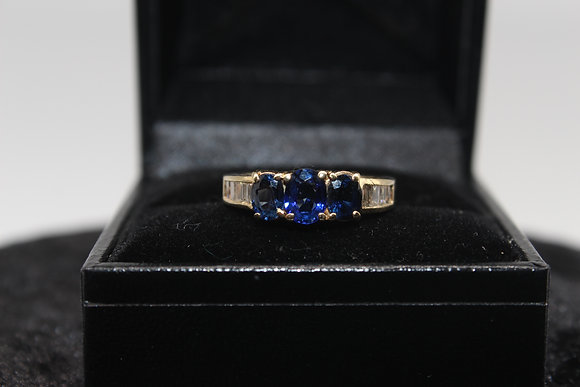 A 14ct gold, diamond & sapphire ring, size J, weighing 3.6g