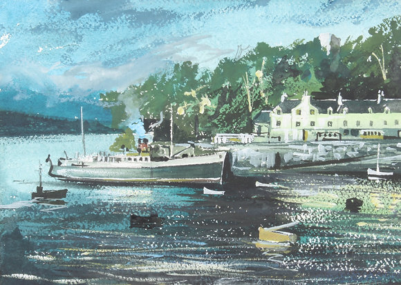 A 20th century night time river scene watercolour and gouache