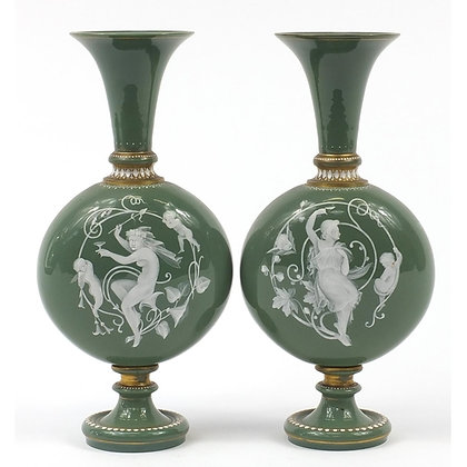 Pair of 19th century pate sur pate green jewelled glass vases