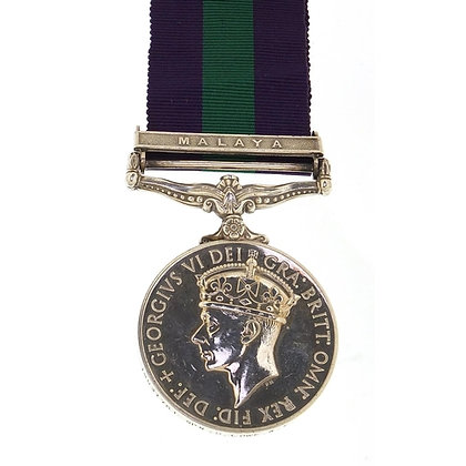 British military George VI General Service medal with Malaya bar