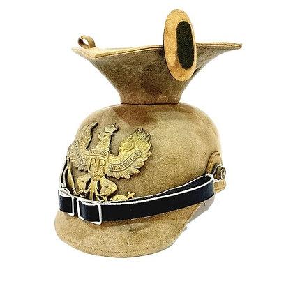 A World War One Uhulan beige cloth helmet
