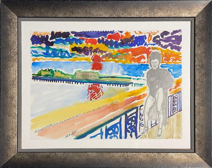 John Bratby, The Grand Hotel Brighton terrace with the promenade and