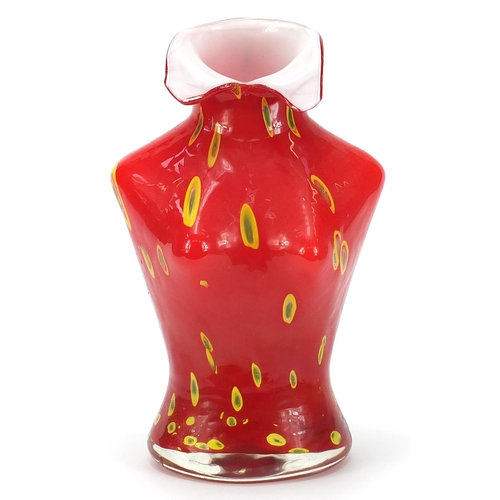 Large Murano style glass vase in the form of a female torso