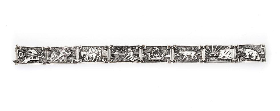 A Norwegian silver panel bracelet