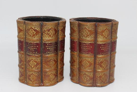 Pair of vintage English library desk pen pots by Original Bookworks Ltd