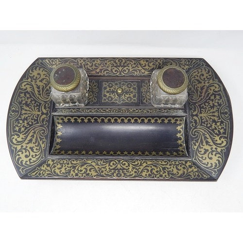19thC brass inlaid twin inkwell stand c.1850