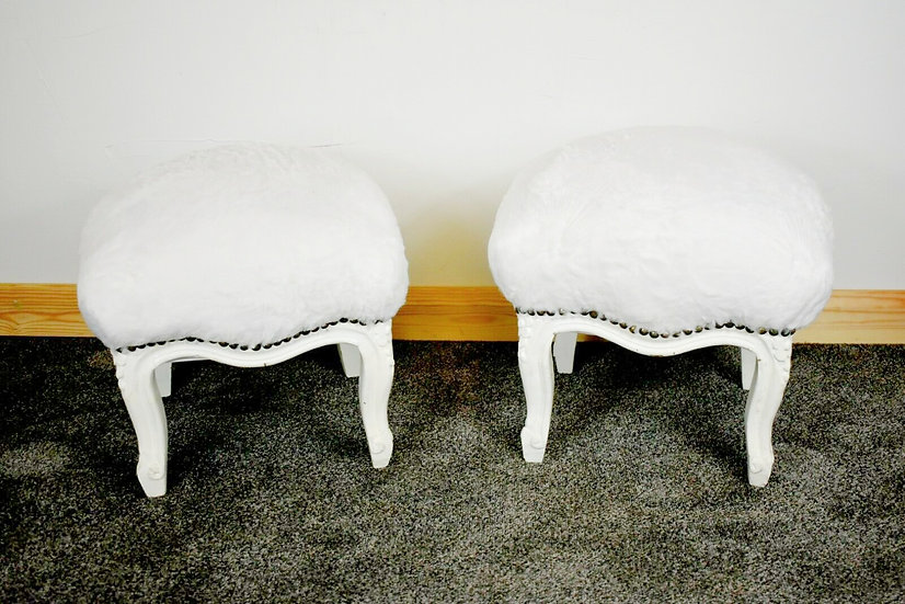 Pair Of White Faux Soft Touch Fur Stools