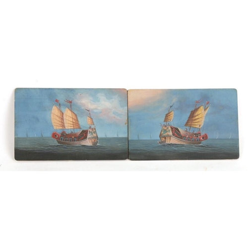 Late 19th Chinese Shanghai / Hong Kong school - a pair of seascapes of junks
