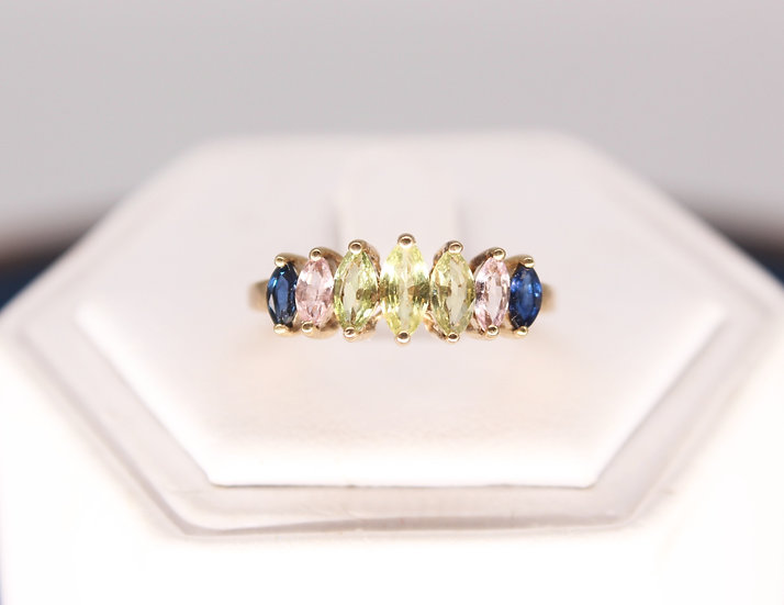 A 9ct gold ring, size N, weighing 2.2g