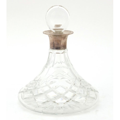 J B Chatterley & Sons Ltd, cut glass ship's decanter with silver collar