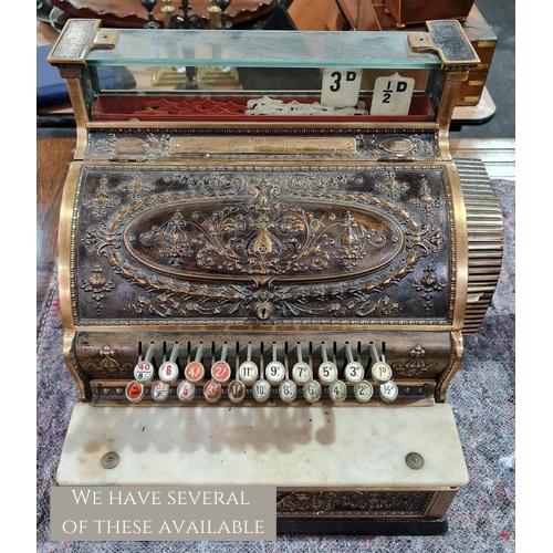 A brass National cash register No S 43 1/4 H, serial no P82406