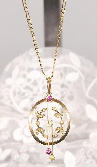 "A 9ct 18"" gold chain & 9ct suffragette pendant"