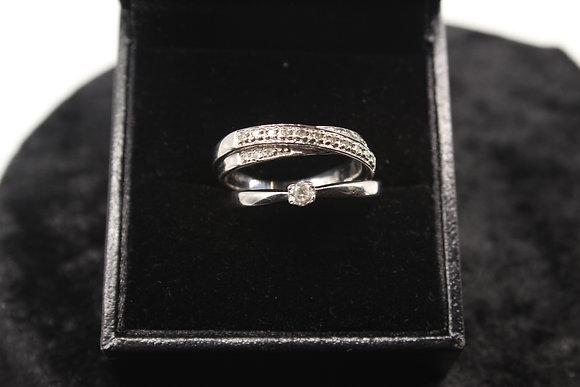 A 9ct white gold diamond set, size P, weighing 5g