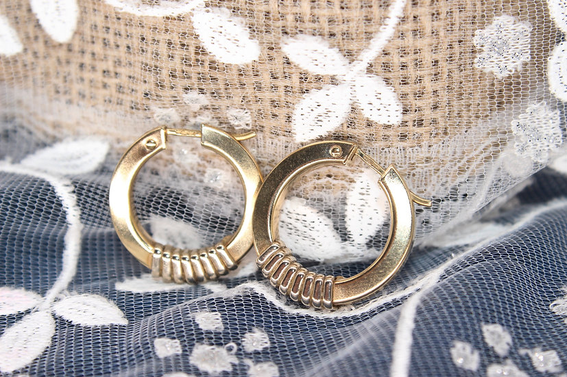 A pair of 9ct hoop earrings, weighing 3.4g
