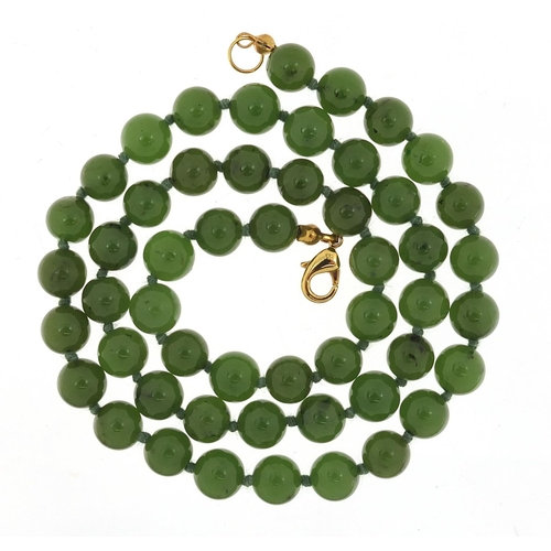 Chinese green jade bead necklace