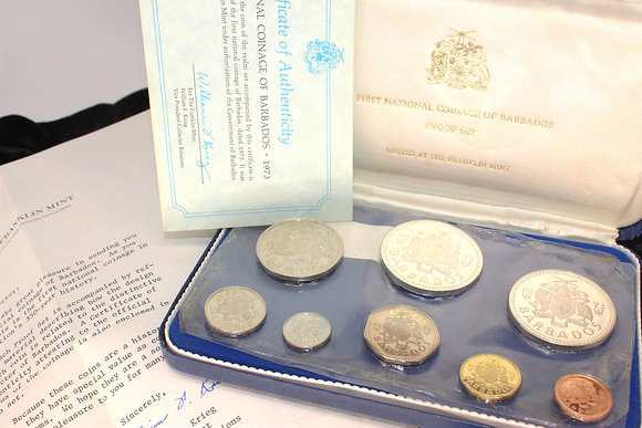 Franklin Mint proof set of the national coinage of Barbados, dated 1973