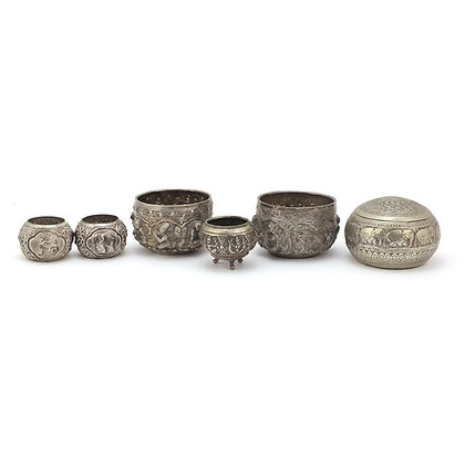 Burmese silver coloured metalware including a pair of open salts etc