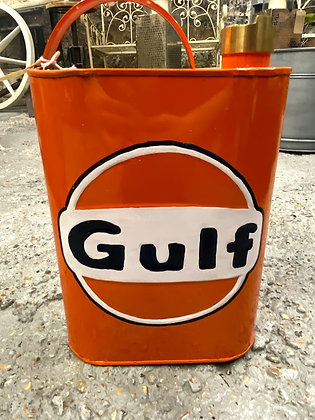 'GULF' Square Metal Petrol Jerry Can Reproduction Brass Cap