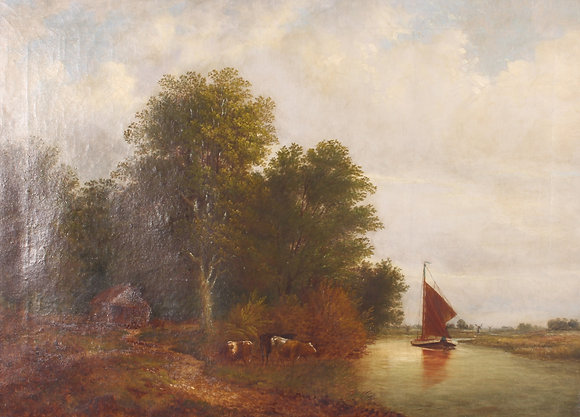 A 19thC countryside oil on canvas