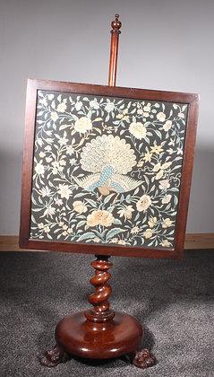 Victorian mahogany pole screen