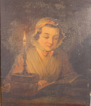 Victorian oil on panel depicting a young girl by candlelight