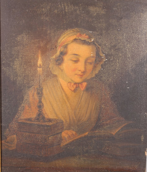 Victorianoil on panel depicting a young girl by candlelight