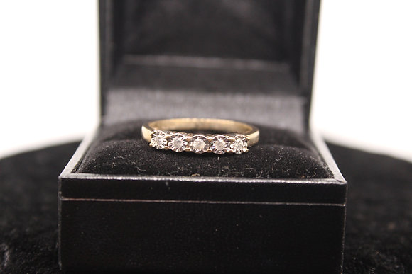 A 9ct gold and diamond ring, size R, weighing 2.4g