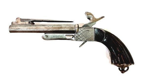 A 19th Century continental double 11.3cm barrel pin fire pistol