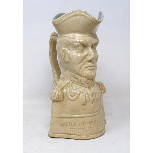 A 19thC commemorative character jug, of the Duke of Wellington