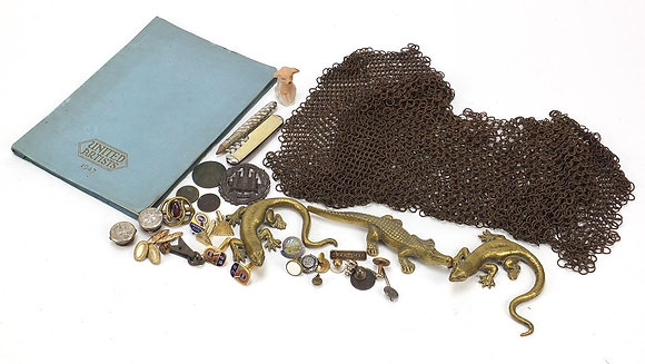 Antique and later objects including antique chain mail etc