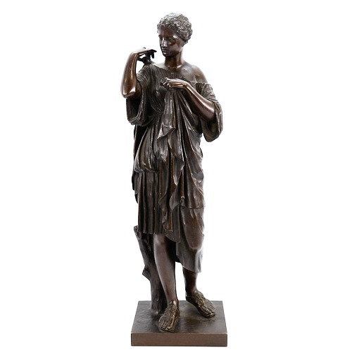 A 19th century patinated bronze sculpture, standing Greek figure