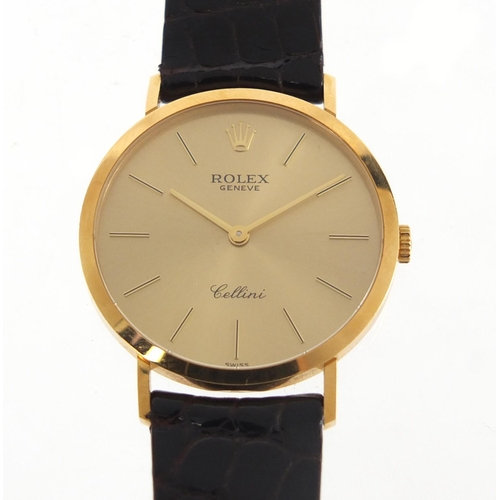 Rolex Cellini, gentlemen's 18ct gold manual wristwatch with cloth pouch