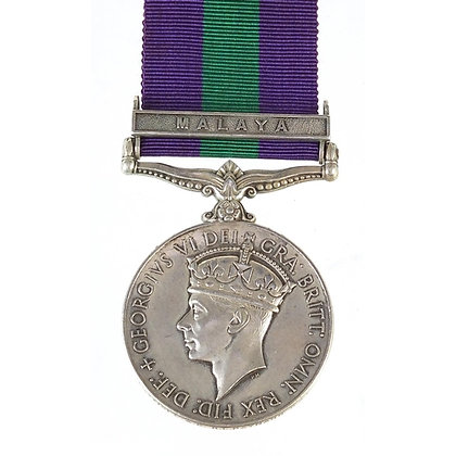 British military George VI General Service medal with Malaya bar