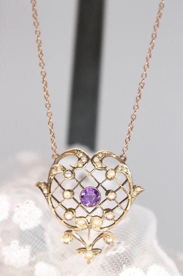 "A 9ct 16"" (inc pendant)pearl & amethyst pendant & chain"