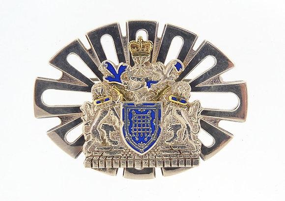 Metropolitan police silver and enamel brooch