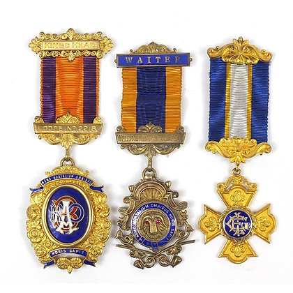 Three RAOB silver gilt and enamel jewels with ribbons