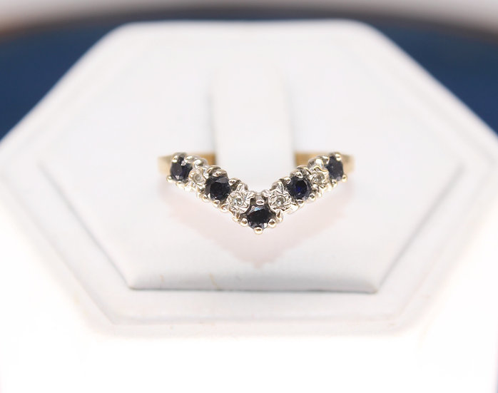 A 9ct gold & diamond ring, size O, weighing 1.4g