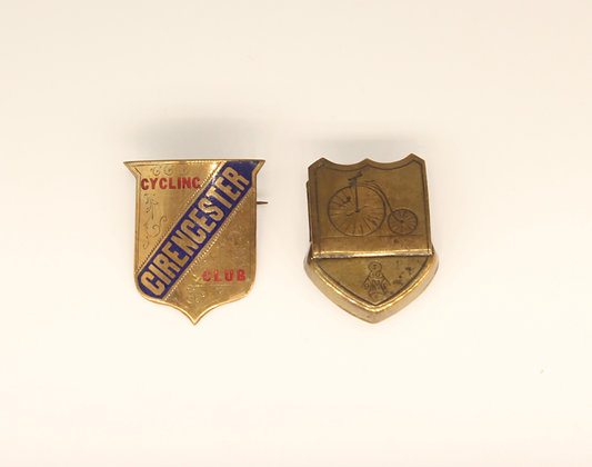 Victorian cycling interest brass skirt clip & enamelled Cirencester Cycling Club