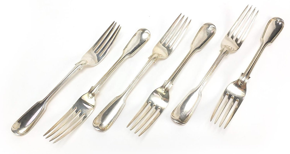 Chawner & Co, set of six Victorian silver table forks