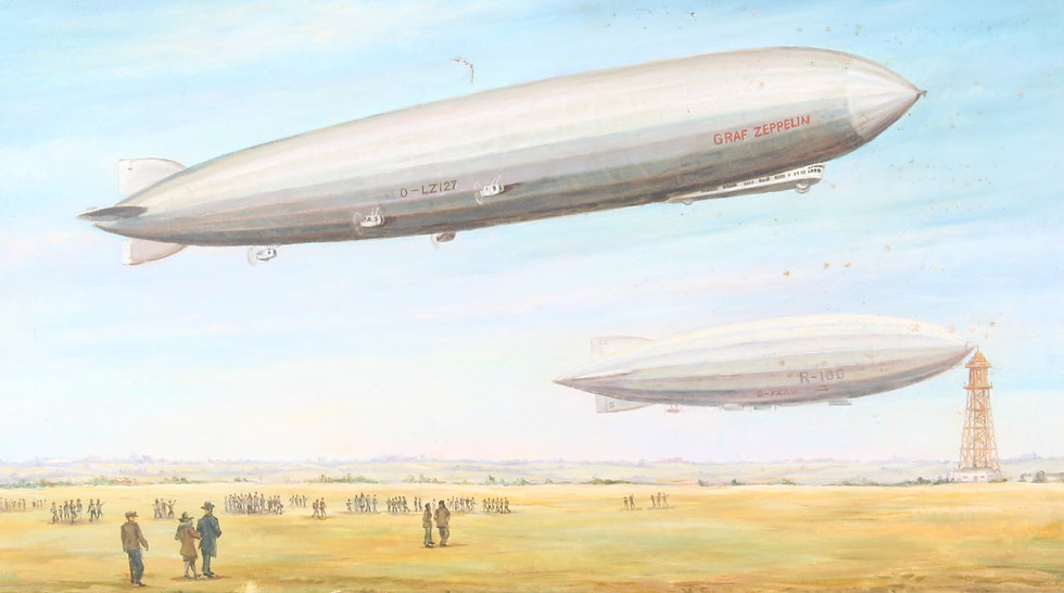 A 20th century oil on canvas depicting a pair of Zeppelins