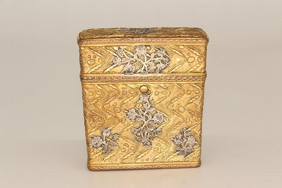 French gilt metal and silver overlaid etui