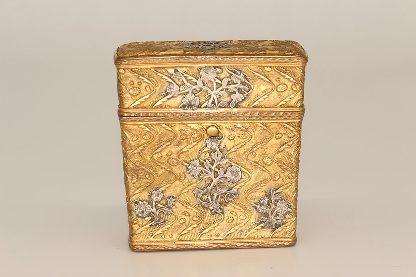 French gilt metal and silver overlaid etui