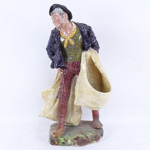 A large Italian Cacciapuoti of Napoli hand painted ceramic figural sculpture