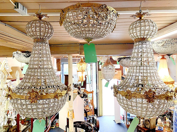 Large brass chandeliers