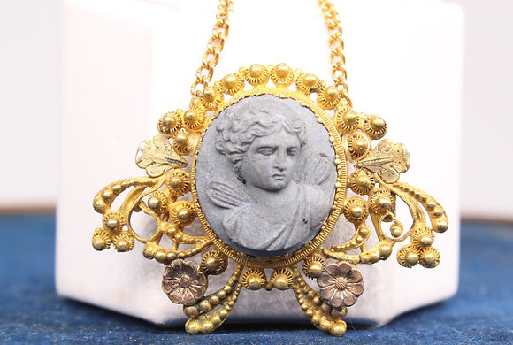 A Victorian high carat gold lava pendant, 7.7g