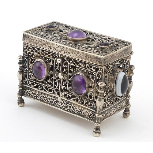Antique 800 German silver pierced casket set with agate and amethyst cabochons