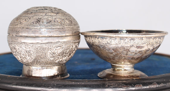 Burmese silver coloured metal box and cover and similar pedestal salt