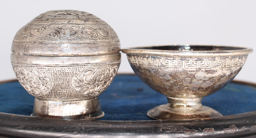 Burmese silver coloured metal box and cover and similar pedestal salt