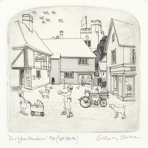 Graham Clarke - For you Madame, artist's proof pencil signed etching