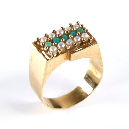 A Continental high carat gold turquoise and pearl triple-row signet ring